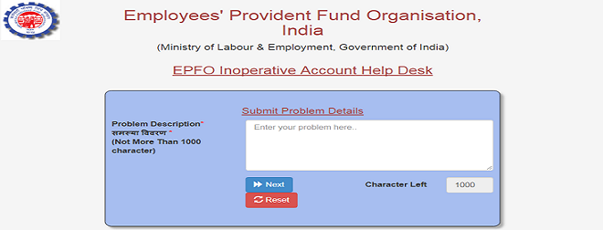 Inoperative EPF Account online